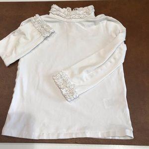 Girl's Ruffled Embellished White Turtleneck, 4T